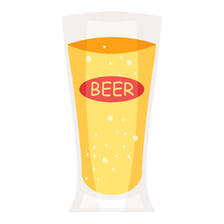 Cartoon vector illustration isolated object cool drink beer glass