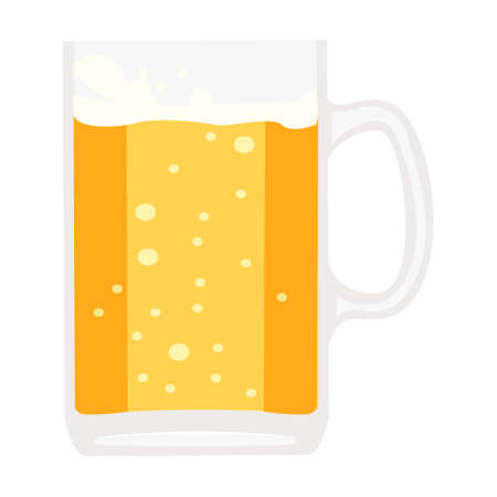 Cartoon vector illustration isolated object cool drink beer with bubble and glass cup Иллюстрация