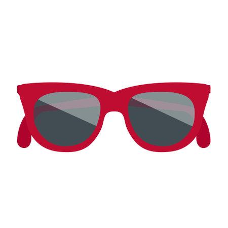 Cartoon vector illustration isolated object summer item red sunglasses  イラスト・ベクター素材