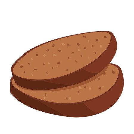 Cartoon vector illustration isolated object delicious flour food bakery bread dark whole grain toast