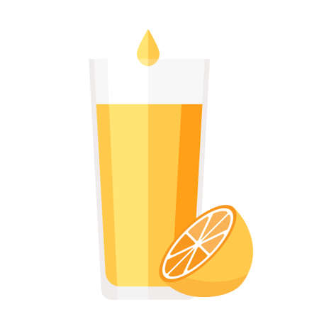 Cartoon vector illustration isolated object fresh fruit yellow lemon and a glass of juice  イラスト・ベクター素材
