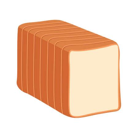 Cartoon vector illustration isolated object delicious flour food bakery bread toast