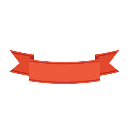 Cartoon vector illustration isolated object red ribbon tag