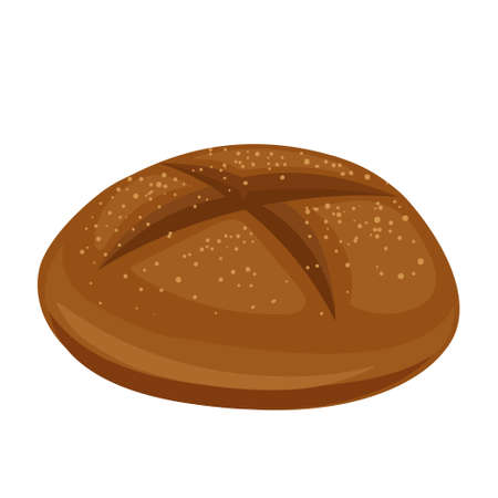 Cartoon vector illustration isolated object delicious flour food whole grain bakery bread