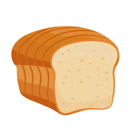 Cartoon vector illustration isolated object delicious flour food bakery bread whole grain toast