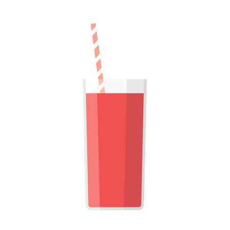 Cartoon vector illustration isolated object glass of fresh tomato juice with straw  イラスト・ベクター素材