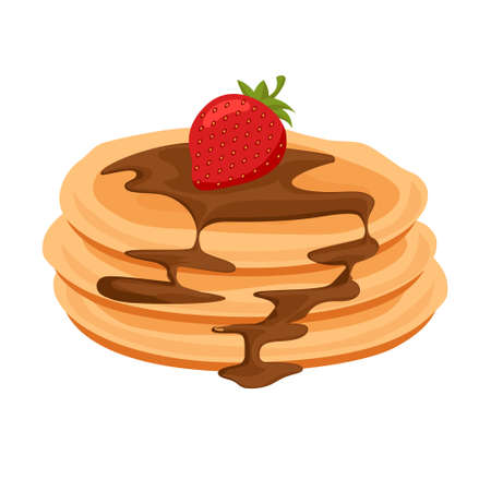 Cartoon vector illustration isolated object delicious flour food dessert pancake with chocolate strawberry  イラスト・ベクター素材