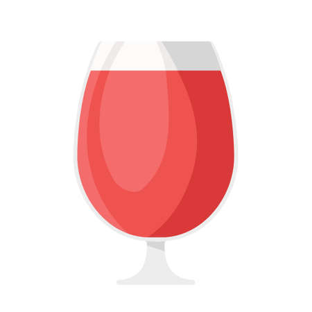 Cartoon vector illustration isolated object glass goblet and red wine