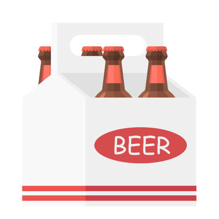 Cartoon vector illustration isolated object beer carry box and beer bottle  イラスト・ベクター素材