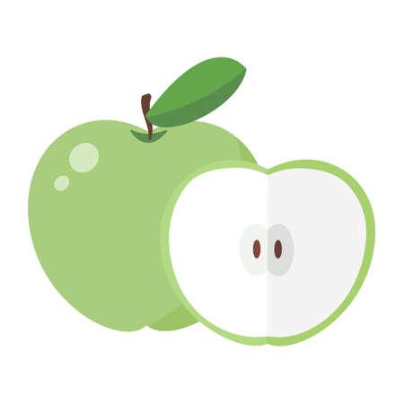 Cartoon vector illustration isolated object fresh fruit green apple