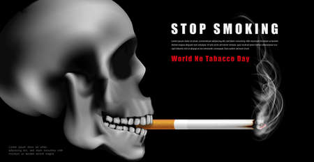 World no tabacco day campaign illustration no cigarette for health scary skull smoking in black dark background
