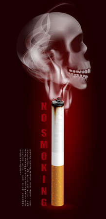 Stop smoking campaign illustration no cigarette for health cigarette and scary human skull