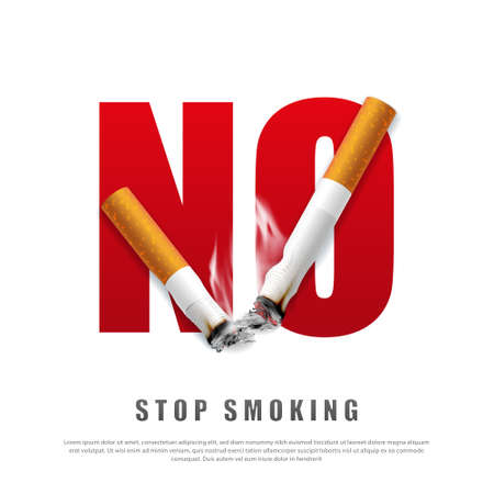 Stop smoking campaign illustration no cigarette for health broken cigarettes and ashes