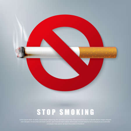 Stop smoking campaign illustration no cigarette for health cigarette and red forbidden sign  イラスト・ベクター素材