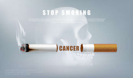 Stop smoking campaign illustration no cigarette for health cutted cigarette and scary human skull background  イラスト・ベクター素材