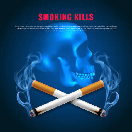 Stop smoking campaign illustration no cigarette for health two cigarettes scary skull dark blue background