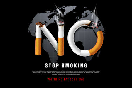 Stop smoking campaign illustration no cigarette for health in world map black background