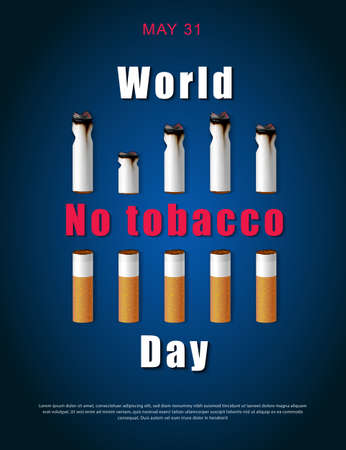 Stop smoking campaign illustration no cigarette for health cutted cigarettes and world no tabacco day