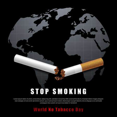 Stop smoking campaign illustration no cigarette for health broken cigarette and world map in black background  イラスト・ベクター素材