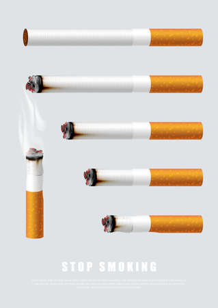 Stop smoking campaign illustration no cigarette for health cigarettes in different length  イラスト・ベクター素材