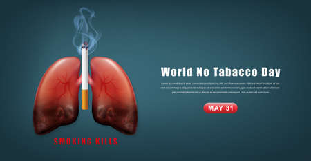 Stop smoking campaign illustration no cigarette for health cigarettes and realistic half rotten lungs