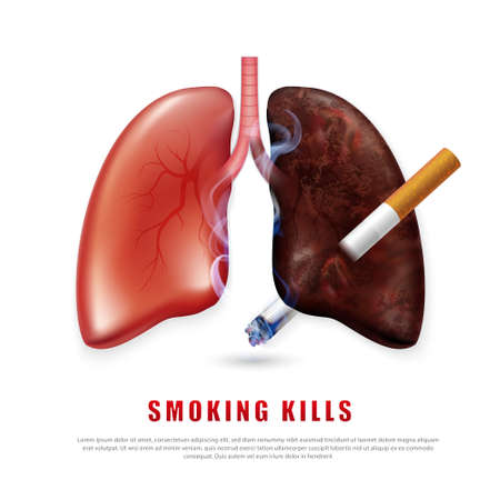 Stop smoking campaign illustration no cigarette for health cigarette puncture realistic lungs  イラスト・ベクター素材