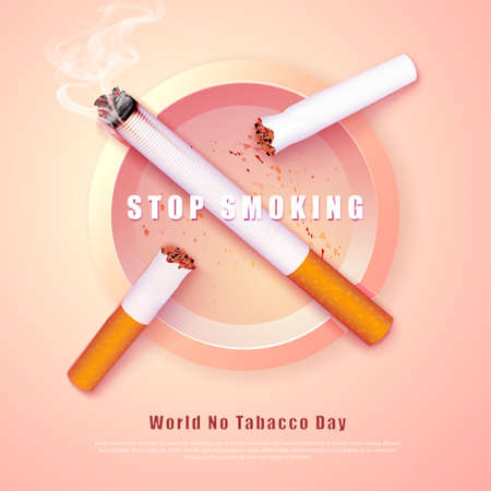 Stop smoking campaign illustration no cigarette for health broken cigarettes and ash tray  イラスト・ベクター素材