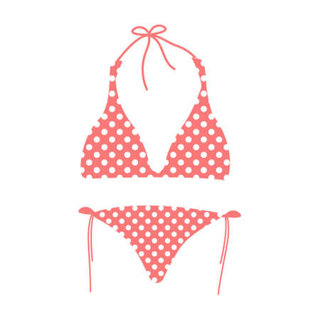 Cartoon vector illustration isolated object summer swimming suit pink bikini with cute round white dot