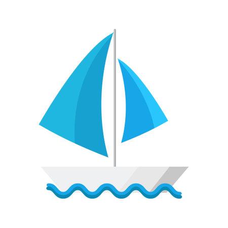 Cartoon vector illustration isolated object sailing boat