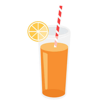 Cartoon vector illustration isolated object fresh, fruit orange juice with straw  イラスト・ベクター素材