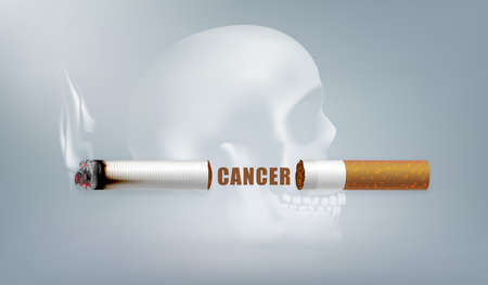 Stop smoking campaign illustration no cigarette for health cutted cigarette and scary human skull background 写真素材