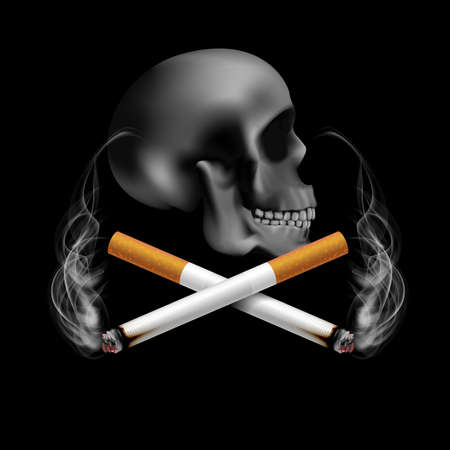 Stop smoking campaign illustration no cigarette for health two cigarettes and scary human skull in black background