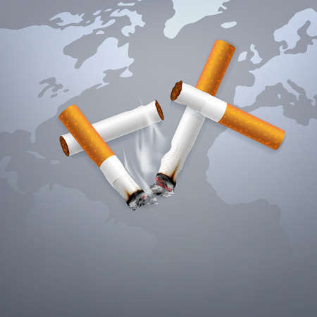 Stop smoking campaign illustration no cigarette for health broken cigarettes and ashes with world map background 写真素材