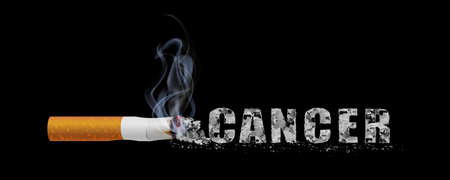 Stop smoking campaign illustration no cigarette for health cancer letters of smoking ashes in black background