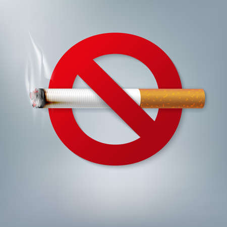 Stop smoking campaign illustration no cigarette for health cigarette and red forbidden sign 写真素材