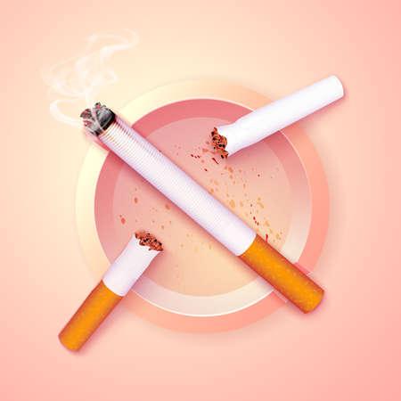 Stop smoking campaign illustration no cigarette for health broken cigarettes and ash tray 写真素材