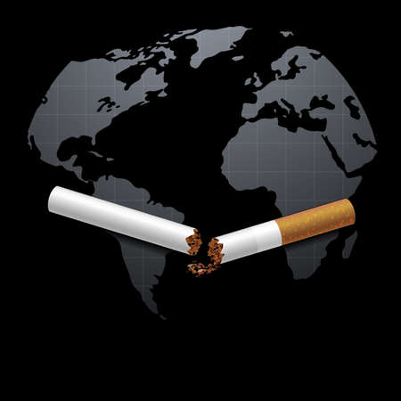 Stop smoking campaign illustration no cigarette for health broken cigarette and world map in black background 写真素材