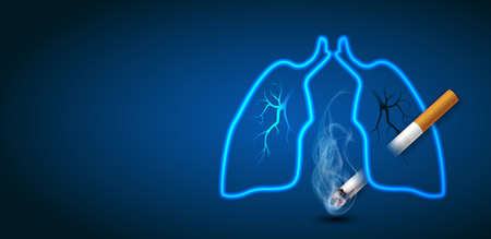 Stop smoking campaign illustration no cigarette for health cigarette puncture lung in dark blue background