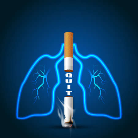 Stop smoking campaign illustration no cigarette for health two cigarettes and lung outline in dark blue background