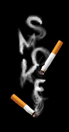 Stop smoking campaign illustration no cigarette for health cigarette smoke letters in black background 写真素材