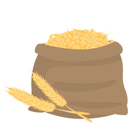 Cartoon vector illustration isolated object a sack of wheat ears  イラスト・ベクター素材