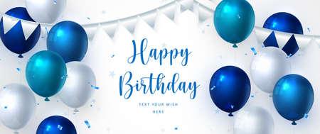 Elegant blue ballon and ribbon Happy Birthday celebration card banner template background