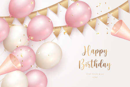 Elegant girlsih pink ballon Happy Birthday celebration party popper and ribbon decoration 矢量图像