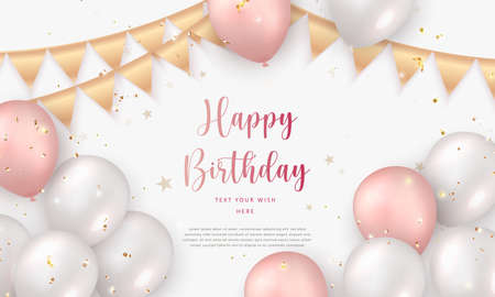 Elegant rose pink white silver ballon and golden ribbon Happy Birthday celebration card banner template background