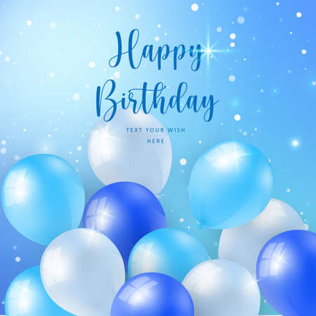 Elegant blue ballon with winter snow shiny sky background Happy Birthday celebration card banner template
