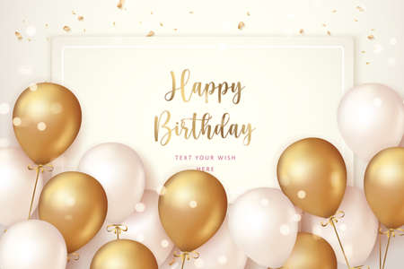 Elegant golden ballon and ribbon Happy Birthday celebration card banner template background 矢量图像