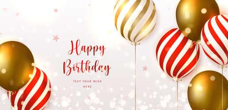 Elegant golden red striped ballon Happy Birthday celebration card banner template background Stock Illustratie