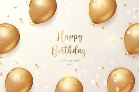 Elegant golden ballon and ribbon Happy Birthday celebration card banner template background Stock Illustratie