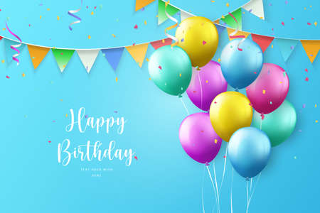 Colorful ballon and ribbon Happy Birthday celebration card banner template background