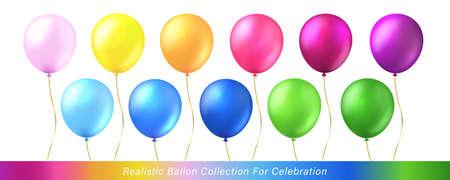 Colorful vivid rainbow ballon collection for celebration design Stock Illustratie